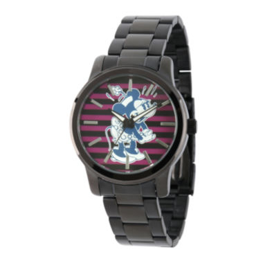 jcpenney.com | Disney Womens Minnie Mouse Black Stainless Steel Bracelet Watch