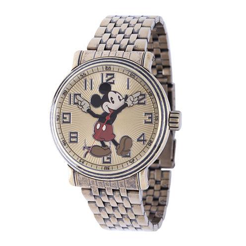 Disney Mens Mickey Mouse Stainless Steel Bracelet Watch