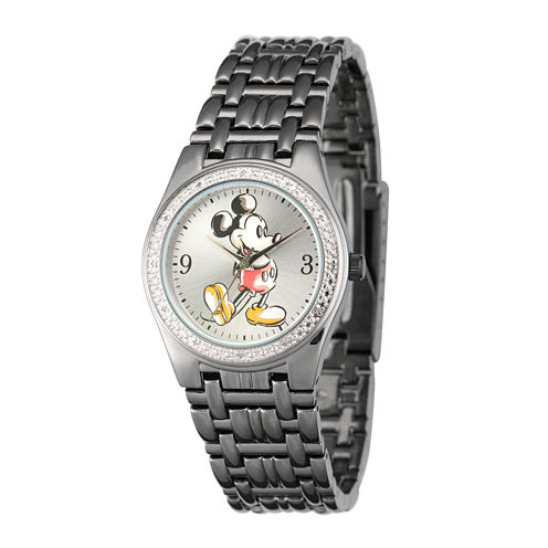 Disney Mens Mickey Mouse Black Metal Alloy Bracelet Watch