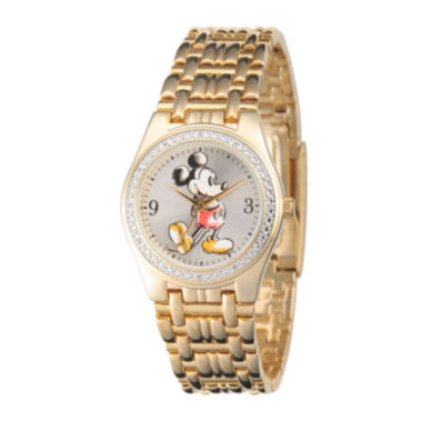 jcpenney.com | Disney Mens Gold-Tone Metal Alloy Strap Mickey Mouse Bracelet Watch