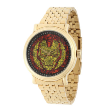 jcpenney.com | Marvel® Mens Gold-Tone Stainless Steel Strap Iron Man Bracelet Watch