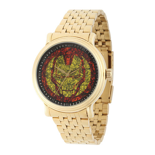 Marvel® Mens Gold-Tone Stainless Steel Strap Iron Man Bracelet Watch