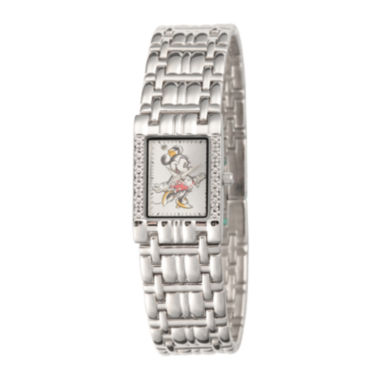 jcpenney.com | Disney Womens Silver-Tone Metal Alloy Square Strap Minnie Mouse Bracelet Watch