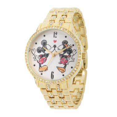 jcpenney.com | Disney Mickey and Minnie Womens Gold-Tone Cubic Zirconia Love Bracelet Watch