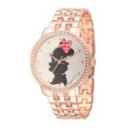 Disney Womens Silver-Tone Dial Rose Gold-Tone Bracelet Watch