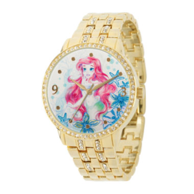 jcpenney.com | Disney Womens Crystal-Accent Gold Alloy Ariel Bracelet Watch