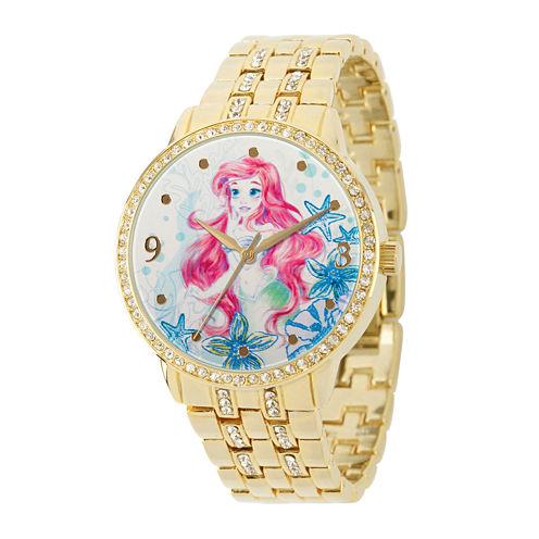 Disney Womens Crystal-Accent Gold Alloy Ariel Bracelet Watch