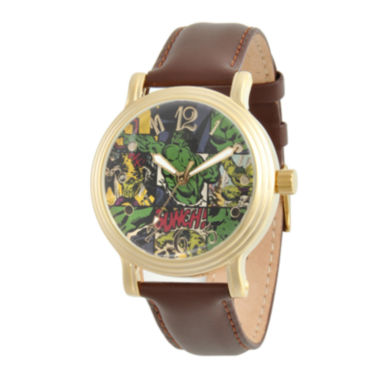 jcpenney.com | Marvel® Womens Brown Leather Strap Hulk Watch