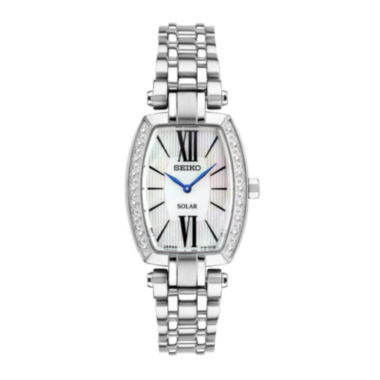 jcpenney.com | Seiko® Tressia Womens Diamond-Accent Rectangular Solar Bracelet Watch SUP283