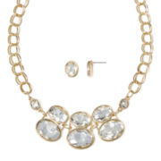 Worthington® Crystal Gold-Tone Curb Chain Necklace and Earring Set