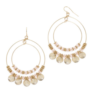 jcpenney.com | Mixit™ Pink Bead Double-Wire Hoop Earrings