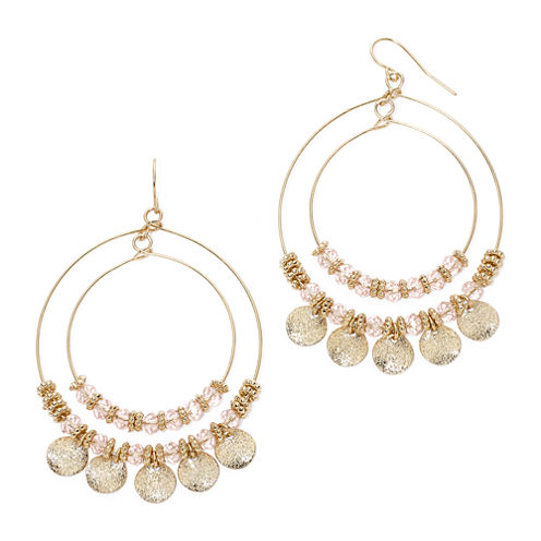 Mixit™ Pink Bead Double-Wire Hoop Earrings