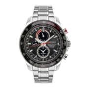 Seiko® Sportura Mens Stainless Steel Solar Perpetual Calendar Chronograph Sport Watch SSC357