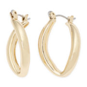 Sensitive Ears Gold-Tone Twist Teardrop Hoop Earrings