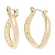 Sensitive Ears Gold-Tone Twist Teardrop Hoop Earrings