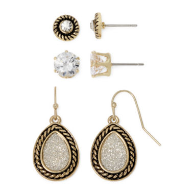 jcpenney.com | Sensitive Ears Two-Tone 3-pr. Earring Set