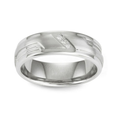 jcpenney.com | Diamond-Accent Stainless Steel Wedding Band