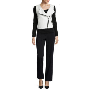 jcpenney.com | Liz Claiborne® Quilted Knit Jacket, Print Top or Trouser Pants - Petite