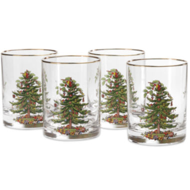 jcpenney.com | Spode® Christmas Tree Set of 4 Gold-Rim Double Old-Fashioned Glasses
