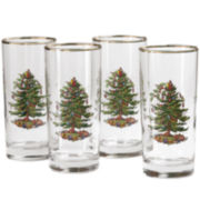 Spode® Christmas Tree Set of 4 Gold-Rim Highball Glasses