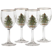 Spode® Christmas Tree Set of 4 Gold-Rim Wine Glasses