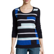 Liz Claiborne® Long-Sleeve Colorblock Sweater