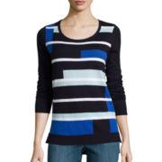 Liz Claiborne® Long-Sleeve Colorblock Sweater