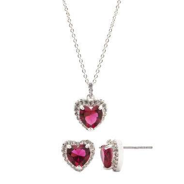 jcpenney.com | Sparkle Allure Womens 2-pc. Red Crystal Red Heart Pend And Earring Set