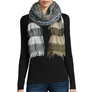 jcpenney.com | Ruched Plaid Scarf