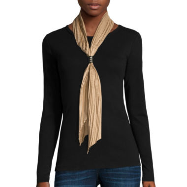 jcpenney.com | Crinkled Solid Satin Bolo Scarf