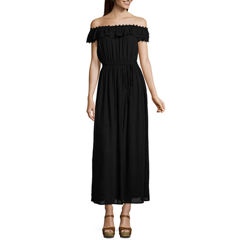 Speechless Short Sleeve Maxi Dress-Juniors