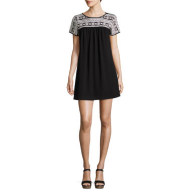 jcpenney.com | Trixxi Short Sleeve Embroidered Blouson Dress-Juniors