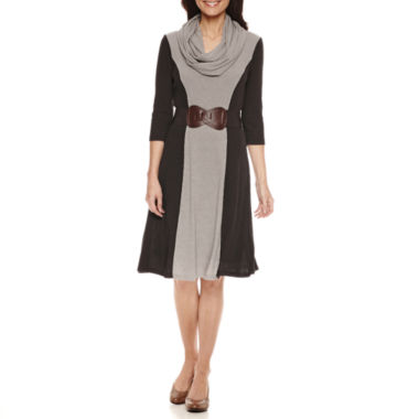 jcpenney.com | Robbie B 3/4 Sleeve Colorblock Infinity Scarf Belted Sweater Dress