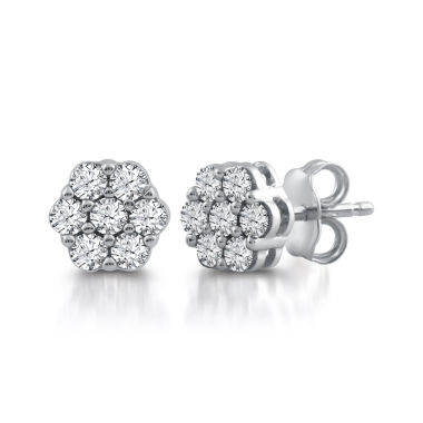 jcpenney.com | Diamond Blossom 1/2 CT. T.W. Round White Diamond 10K Gold Stud Earrings