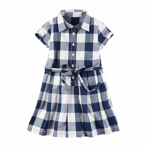 Carter'S Girls Navy Gingham Short Sleeve Dress