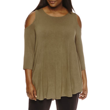 jcpenney.com | Freshman Pl 3/4 Sleeve Cold Shoulder Top With Shirt Juniors Plus