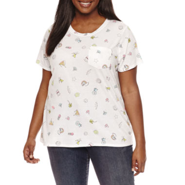 "jcpenney.com | Arizona ""Buzz off"" or ""Food all over print"" Graphic T-Shirt- Juniors Plus"