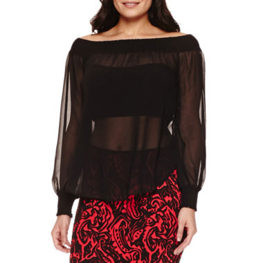 jcpenney.com | Bisou Bisou Slit Sleeve Smocked Off Shoulder Top