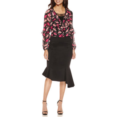 jcpenney.com | Bisou Bisou Ruffled Lace Up Top or Assymetrical Skirt
