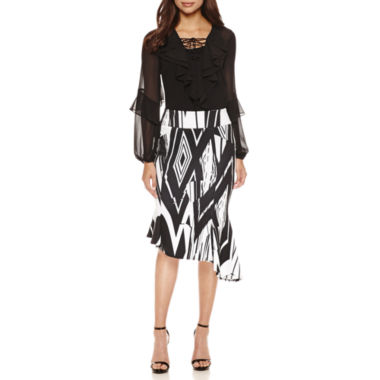 jcpenney.com | Bisou Bisou Ruffle Lace Up Top or Seamed Assymetrical Skirt