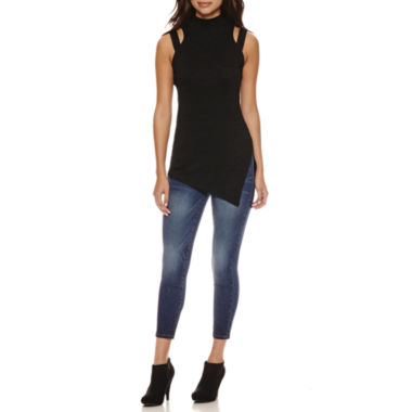 jcpenney.com | Bisou Bisou Mock Neck Assymetrical Top or Stacked Waist Skinny Jeans