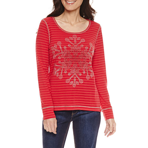 Unity World Wear Long Sleeve Scoop Neck T-Shirt-Womens Petites
