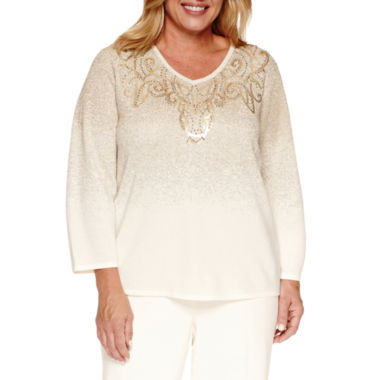 jcpenney.com | Alfred Dunner 3/4 Sleeve V Neck Layered Sweaters-Plus