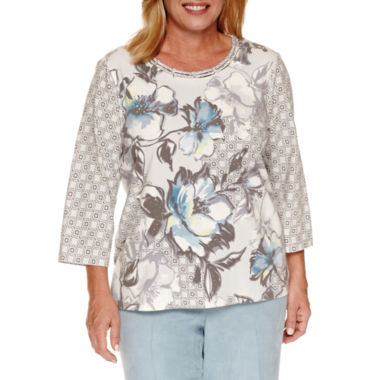 jcpenney.com | Alfred Dunner Northern Lights 3/4 Sleeve Crew Neck Knit Blouse-Plus