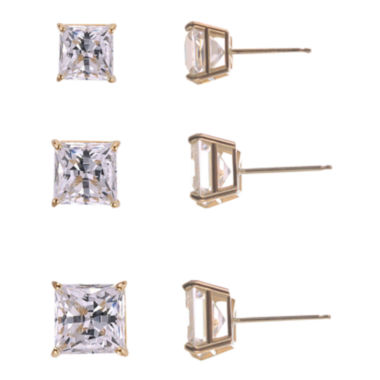 jcpenney.com | 3-Pr. Princess-Cut Cubic Zirconia Gold over Silver Stud Earring Set