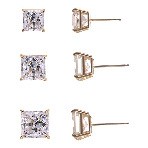 3-Pr. Princess-Cut Cubic Zirconia Gold over Silver Stud Earring Set