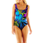 Robby Len by Longitude® Floral Print 1-Piece Swimsuit