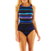Robby Len by Longitude® Striped High-Neck 1-Piece Swimsuit