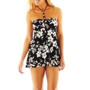 Jamaica Bay® Floral Print Beaded 1-Piece Swimdress