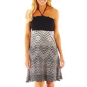Porto Cruz® Smocked Print Cover-Up Dress